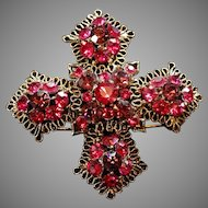 Heirloom Maltese Cross Brooch Cranberry Pink Austrian Crystal Brooch Pin  Mount
