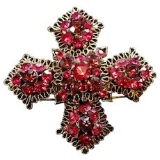Heirloom Maltese Cross Brooch Cranberry Pink Austrian Crystal Brooch Pin  Mount