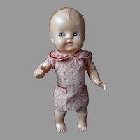 Mid Century Hard Plastic Baby Doll in Playsuit Flirty Eyes