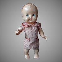 Mid Century Hard Plastic Baby Doll in Playsuit Flirty Eyes