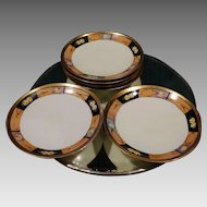 Czech Porcelain Dessert Plate Set 6 Art Deco Influence German Occupation Czechoslovakia