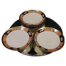 Czech Porcelain Dessert Plate Set 6 Art Deco Influence German Occupation Czechoslovakia