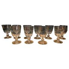 Duncan Miller Set 8 Stemware Crystal Goblets Canterbury Etched Cut