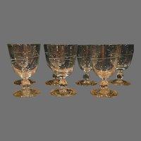 Duncan Miller Set 10 Stemware Crystal Goblets Canterbury Etched Cut