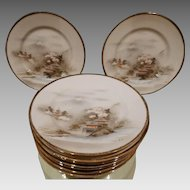 Japanese Egg Shell Porcelain Dessert Plate Set 9 Antique Hand Painted
