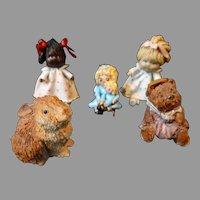 Vintage Artisan Artist Signed Dollhouse Miniature Dolls Teddy Bear Rabbit Composition Handmade Bitty World
