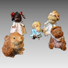 Vintage Artisan Artist Signed Dollhouse Miniature Dolls Teddy Bear Rabbit Composition Handmade Bitty World