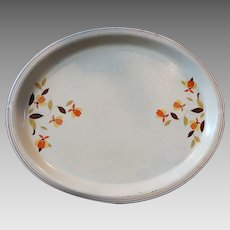 Hall China Jewel Tea Autumn Leaf Serving Tray  Metal