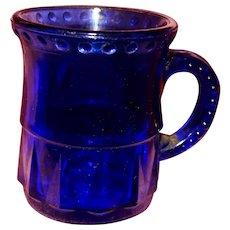EAPG Miniature Cobalt Child's Mug Bead and Dart Pattern Pressed Glass