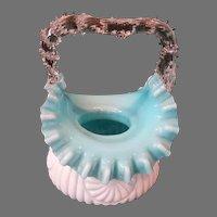 Antique Cased Art Glass Brides Basket Brides Bowl C1885-1890s Artglass