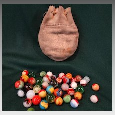 Akro Agate Marbles 1933 Chicago Exposition Indian Head Marbles Bag Set