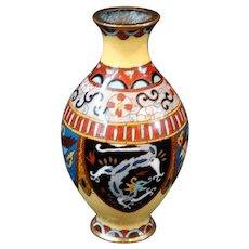 Japanese Champleve Antique Vase Cabinet Miniature Dollhouse Collectible Cloisonne'