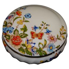 Aynsley Trinket Vanity Jar Bone China Cottage Garden Pattern Vintage