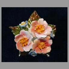 Aynsley Porcelain Bone China Rose Brooch Pin Vintage