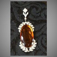 Antique Pendant, Monumental Amber Stone Paste Stone Accent Costume