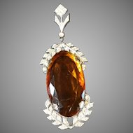 Antique Pendant, Monumental Amber Stone Paste Stone Accent Costume
