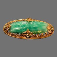Antique Faux Marbled Stone Edwardian Brooch Pin Exquisite