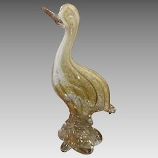 "Murano Bird Sculpture Mid Century Avventurina Large 12.5"" Gorgeous"