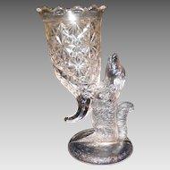 Scarce EAPG Dog Cornucopia Vase Antique Pressed Glass Figural