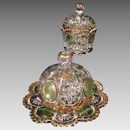 .Knobby Bullseye EAPG Covered Butter Plate & Sugar Green Gold Circa 1915 US Glass