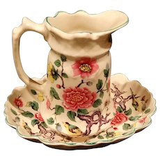Old Foley Pitcher and Bowl Under plate Chinese Rose Pattern