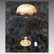 Vintage Light Dollhouse Miniature  Imitation Tiffany Pole Electric Lamp Works!
