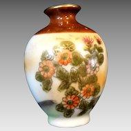 Porcelain Satsuma Vase Cabinet Dollhouse Miniature Mid Century Vintage