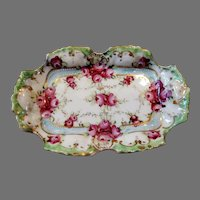 Antique Vanity Trinket Petite Dish Handpainted German 19th Century