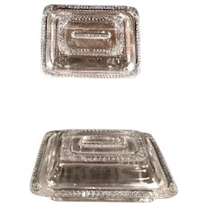 Pair Covered Casserole Dishes Child Size Miniature EAPG Pressed Glass Antique