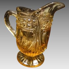 Child Size EAPG Miniature Pitcher Amber Unique Design Antique
