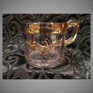 Historic EAPG Patriotic Eagle Drum Childs Mug Cup Antique Pressed Glass