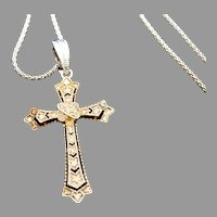 Vintage Sterling Cross Pendant Necklace Sterling Chain