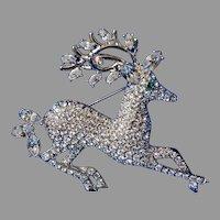 Designer Holiday Austrian Crystal Reindeer Brooch Norman Miller Vintage