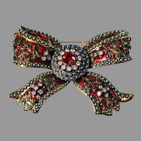 Joan Rivers Designer Brooch Enameled Beaded Ribbon Bow