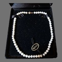 Honora Cultured Pearl Necklace 14K Gold Clasp Never Worn