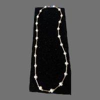 Cultured Pearl 14K Gold Link Necklace Vintage
