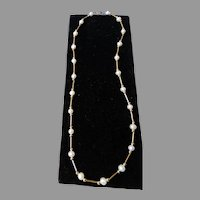 Cultured Pearl 14K Gold Link Necklace Vintage