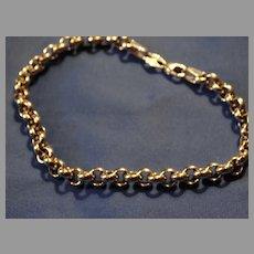 14K Gold White Gold Heavy Link Bracelet Vintage