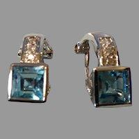 Vintage 14K  White Gold Blue Topaz Diamond Earrings