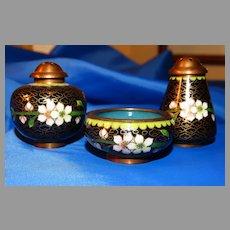 Miniature Cloisonne Shaker and Salt Set Vintage 3 pc Cobalt