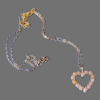 14K Gold Pink Cultured Pearl Heart Necklace
