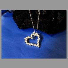 """14k Gold Pendant 14K  CZ """"Diamond"""" Heart Necklace"""