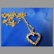 14K Gold Diamond Heart Necklace