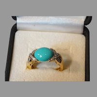 Robin's Egg Turquoise Diamond Ring 14K Yellow Gold