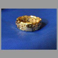 18K Yellow Gold Filigree Ring Band Signed
