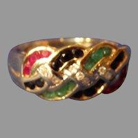 14K Gold Ruby Emerald Sapphire Diamond Ring