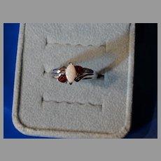 Opal Ruby Diamond Ring 14K White Gold