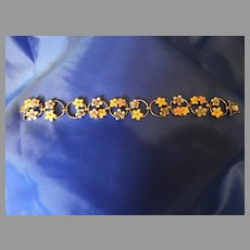 Joan Rivers Enameled Sterling Flower Bracelet