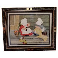 Sunbonnet Babies Advertising Print Framed Putnam Dyes Circa 1890-1910