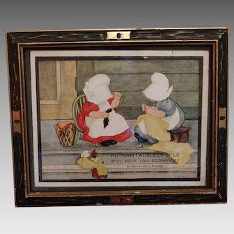 Sunbonnet Babies Advertising Print Framed Putnam Dyes Circa 1890-1910